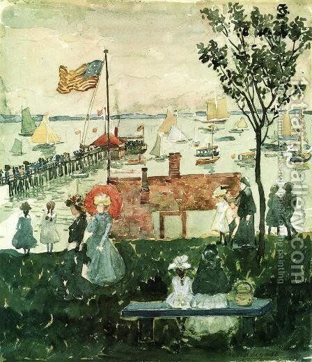 Excursionists  Nahant by Maurice Brazil Prendergast - Reproduction Oil Painting
