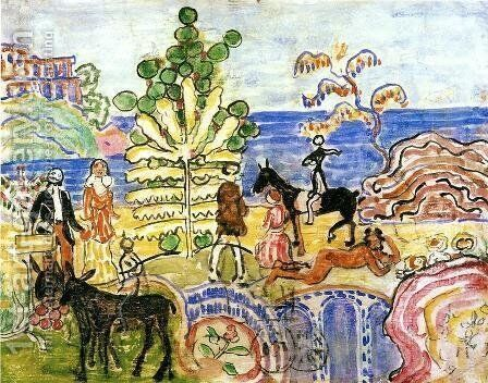 Fantasy Aka Fantasy With Flowers  Animals And Houses by Maurice Brazil Prendergast - Reproduction Oil Painting