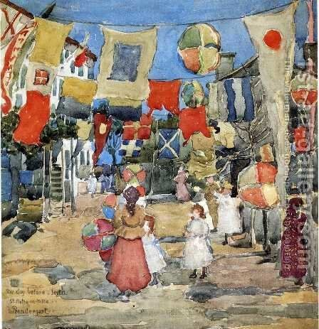 Fiesta   Venice   S  Pietro In Volta Aka The Day Before The Fiesta  St  Pietro In Volte by Maurice Brazil Prendergast - Reproduction Oil Painting