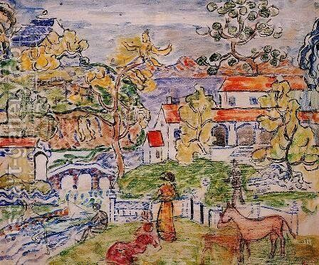 Figures And Donkeys Aka Fantasy With Horse by Maurice Brazil Prendergast - Reproduction Oil Painting