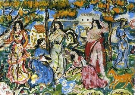Figures In A Landscape by Maurice Brazil Prendergast - Reproduction Oil Painting