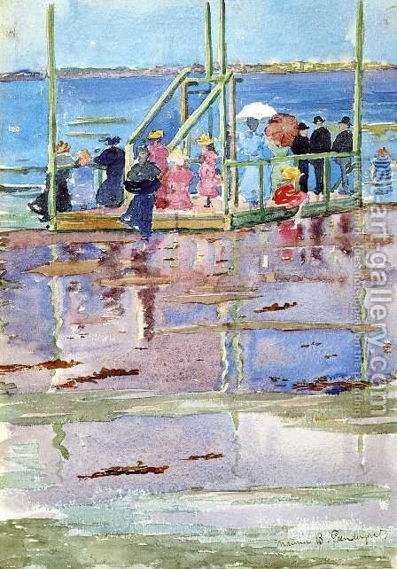 Float At Low Tide  Revere Beach Aka People At The Beach by Maurice Brazil Prendergast - Reproduction Oil Painting