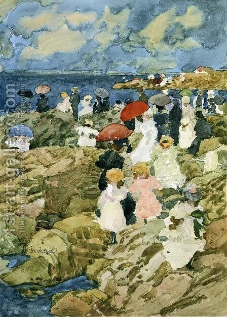 Handkerchief Point (Coastal Scene) by Maurice Brazil Prendergast - Reproduction Oil Painting