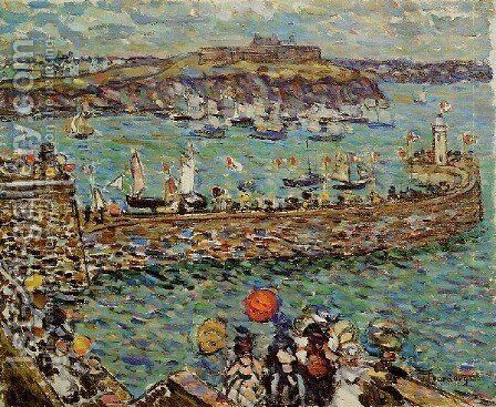 Ighthouse At St  Malo by Maurice Brazil Prendergast - Reproduction Oil Painting