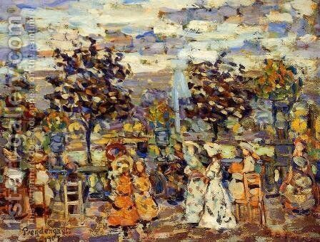 In The Luxembourg Gardens by Maurice Brazil Prendergast - Reproduction Oil Painting