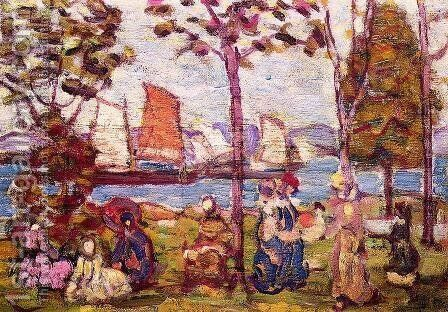 In The Park2 by Maurice Brazil Prendergast - Reproduction Oil Painting