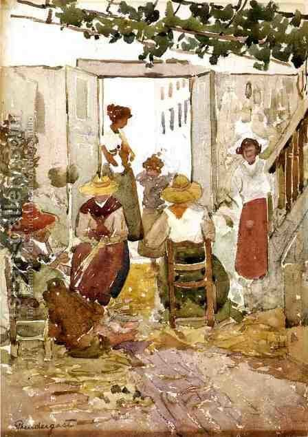 Lacemakers  Venice by Maurice Brazil Prendergast - Reproduction Oil Painting