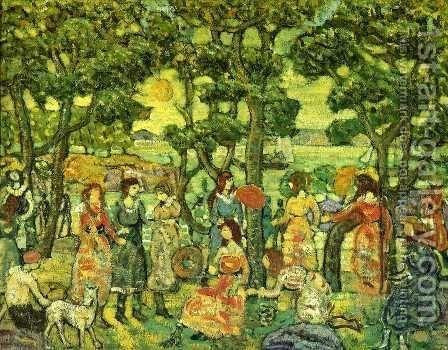 Landscape With Figures2 by Maurice Brazil Prendergast - Reproduction Oil Painting