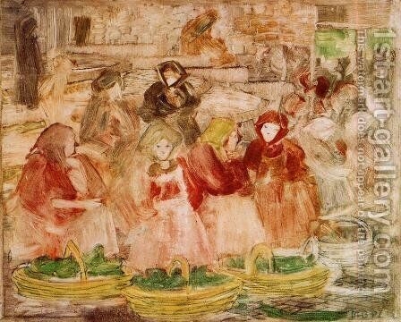 Market Scene by Maurice Brazil Prendergast - Reproduction Oil Painting