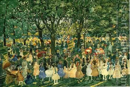May Day  Central Park by Maurice Brazil Prendergast - Reproduction Oil Painting