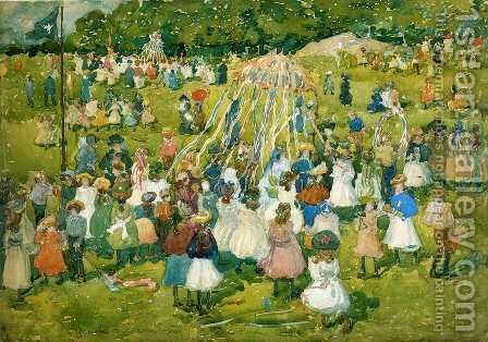 May Day  Central Park2 by Maurice Brazil Prendergast - Reproduction Oil Painting