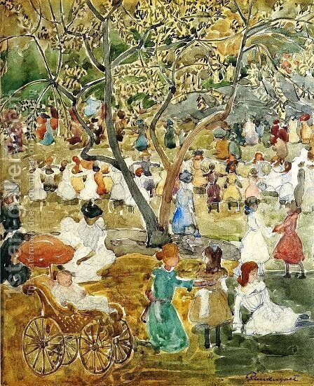 May Party Aka May Day  Central Park by Maurice Brazil Prendergast - Reproduction Oil Painting