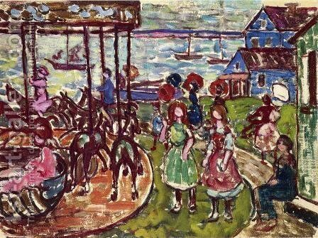 Merry Go Round by Maurice Brazil Prendergast - Reproduction Oil Painting