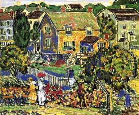 New England Village by Maurice Brazil Prendergast - Reproduction Oil Painting