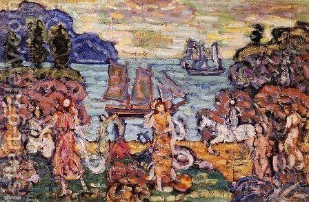 On The Shore by Maurice Brazil Prendergast - Reproduction Oil Painting