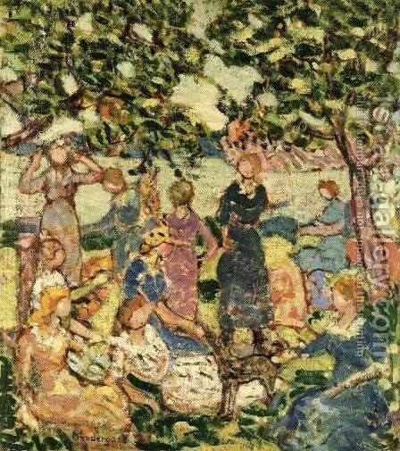 Picnic By The Inlet by Maurice Brazil Prendergast - Reproduction Oil Painting