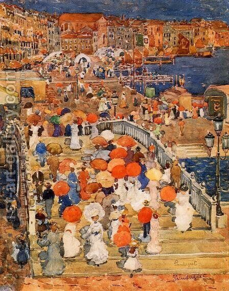 Ponte Della Paglia Aka Marble Bridge by Maurice Brazil Prendergast - Reproduction Oil Painting