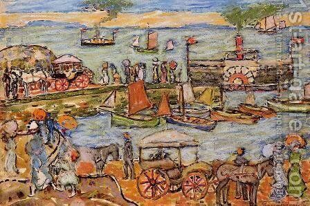 Quai  Dinard by Maurice Brazil Prendergast - Reproduction Oil Painting
