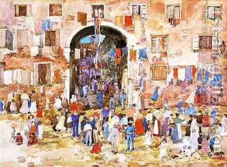 Riva Degli Schiavoni by Maurice Brazil Prendergast - Reproduction Oil Painting