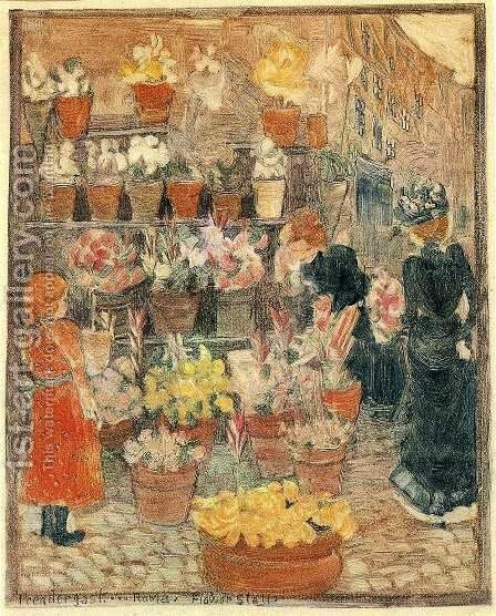 Roma Flower Stall Aka Flower Stall Or Roman Flower Stall by Maurice Brazil Prendergast - Reproduction Oil Painting