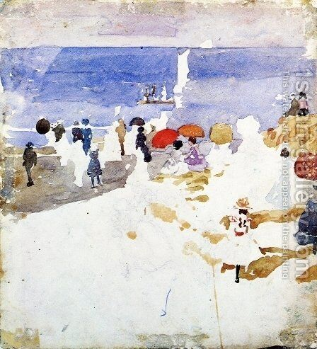 Sketch   Figures On Beach Aka Early Beach by Maurice Brazil Prendergast - Reproduction Oil Painting