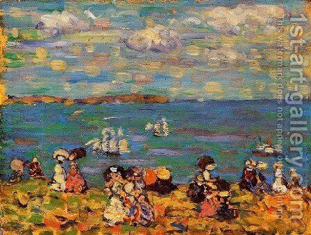 St  Malo Aka Sketch  St  Malo by Maurice Brazil Prendergast - Reproduction Oil Painting