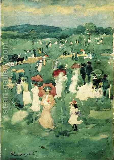 Strolling In The Park Aka In The Park by Maurice Brazil Prendergast - Reproduction Oil Painting