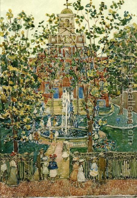 The Bartol Church Aka The Fountain by Maurice Brazil Prendergast - Reproduction Oil Painting