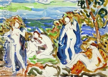 The Bathers by Maurice Brazil Prendergast - Reproduction Oil Painting