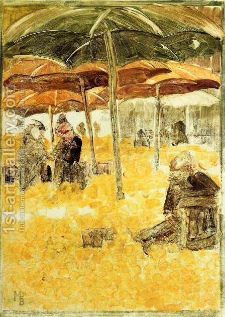 The Orange Market by Maurice Brazil Prendergast - Reproduction Oil Painting