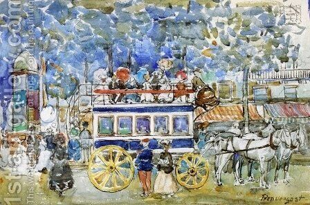 The Paris Omnibus by Maurice Brazil Prendergast - Reproduction Oil Painting