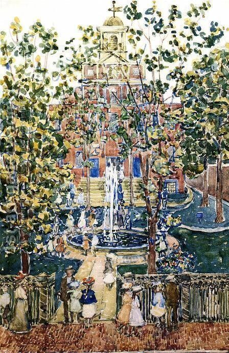 The West Church Aka Fountain At The West Church  Boston by Maurice Brazil Prendergast - Reproduction Oil Painting