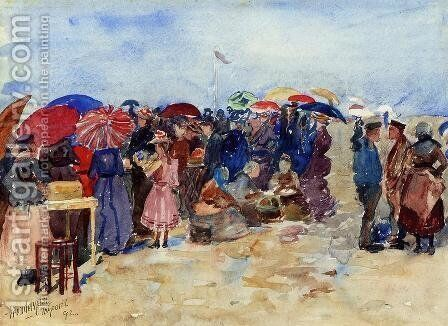 Treport Beach Aka A Very Sunny Day  Treport by Maurice Brazil Prendergast - Reproduction Oil Painting