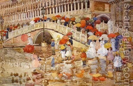 Umbrellas In The Rain by Maurice Brazil Prendergast - Reproduction Oil Painting