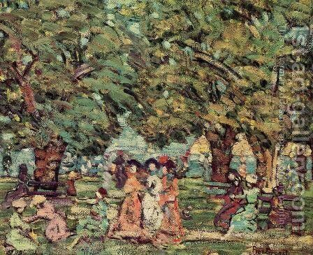Under The Trees by Maurice Brazil Prendergast - Reproduction Oil Painting