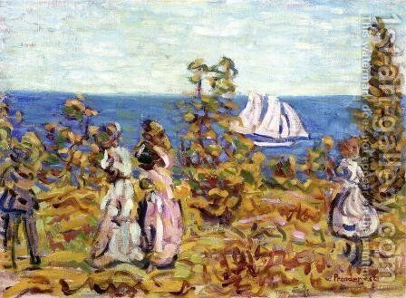 Viewing The Sailboat by Maurice Brazil Prendergast - Reproduction Oil Painting