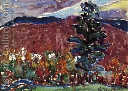 Village Against Purple Mountain by Maurice Brazil Prendergast - Reproduction Oil Painting