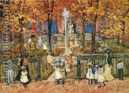 West Church  Boston Aka Red School House  Boston Or West Church At Cambridge And Lynde Streets by Maurice Brazil Prendergast - Reproduction Oil Painting