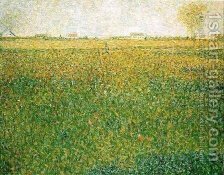 Alfalfa Fields  Saint Denis by Georges Seurat - Reproduction Oil Painting