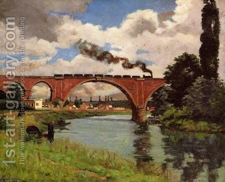 Bridge Over The Marne At Joinville by Armand Guillaumin - Reproduction Oil Painting