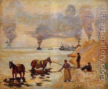 Horses In The Sand At Ivry by Armand Guillaumin - Reproduction Oil Painting