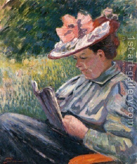 Madame Guillaumin Reading In The Garden by Armand Guillaumin - Reproduction Oil Painting