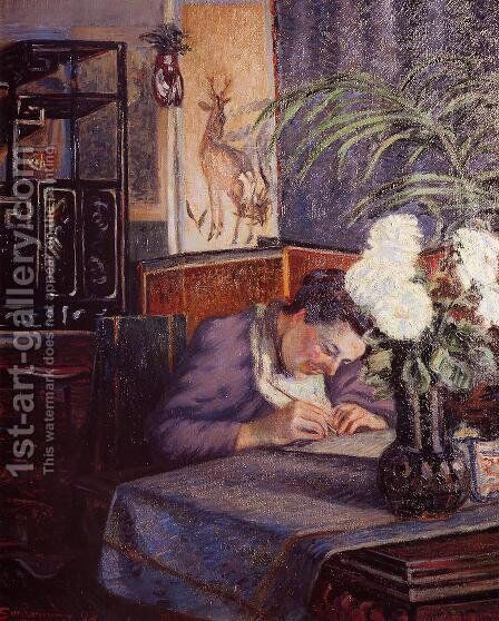 Madame Guillaumin Writing by Armand Guillaumin - Reproduction Oil Painting