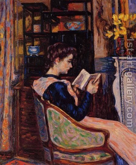 Mademoiselle Guillaumin Reading by Armand Guillaumin - Reproduction Oil Painting
