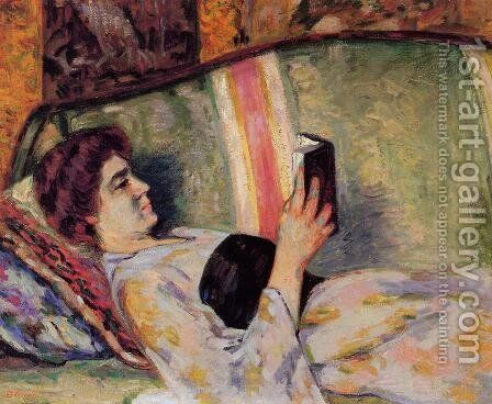 Portrait Of Marguerite Guillaumin Reading by Armand Guillaumin - Reproduction Oil Painting