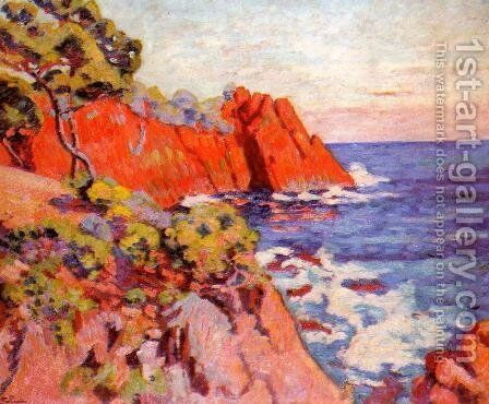 Rocks On The Coast At Agay by Armand Guillaumin - Reproduction Oil Painting