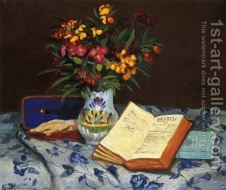 Still Life With Box With Blue Gloves by Armand Guillaumin - Reproduction Oil Painting
