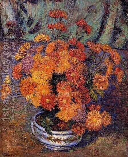 Vase Of Chrysanthemums by Armand Guillaumin - Reproduction Oil Painting