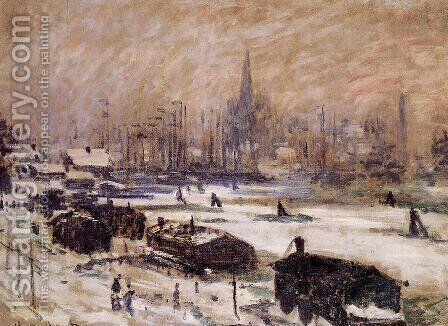 Amsterdam In The Snow by Claude Oscar Monet - Reproduction Oil Painting