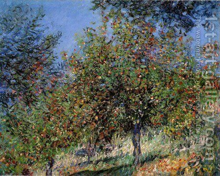 Apple Trees On The Chantemesle Hill by Claude Oscar Monet - Reproduction Oil Painting